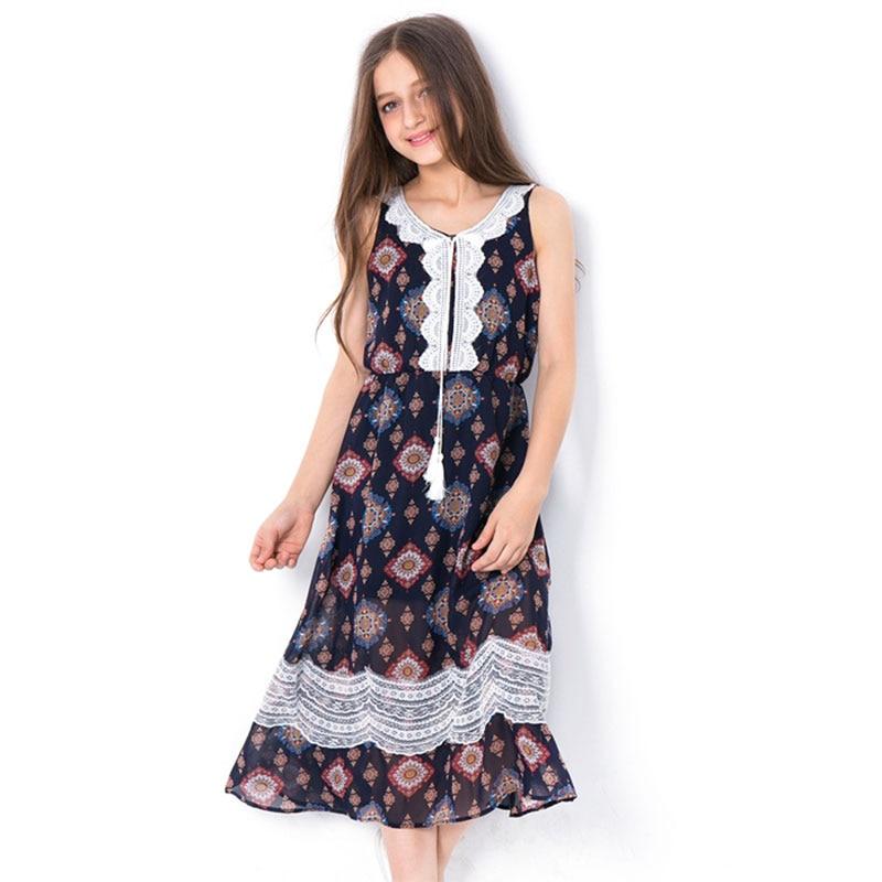 Kids Dress 2018 Summer Sleeveless Floral Chiffon Lace Princess Dress Child Beach Party Dresses for teen girls clothing 5-14Years цена