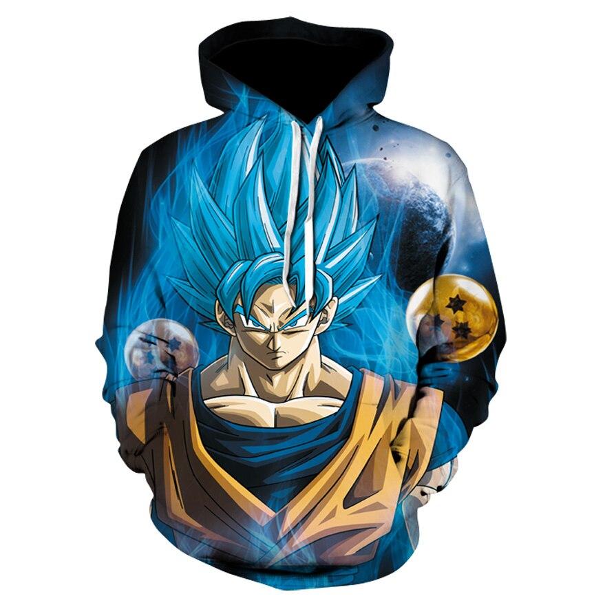 Dragon Ball вспышки Гоку трансформации синие волосы 3D толстовки пуловеры Для мужчин Для женщин верхняя одежда с длинными рукавами новый балахон
