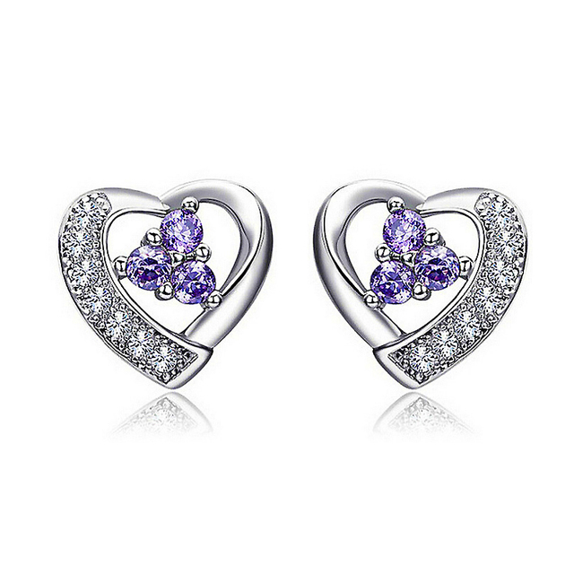 Hot Sale 925 Sterling Silver Romantic Heart Design Stud Earrings For Woman Party