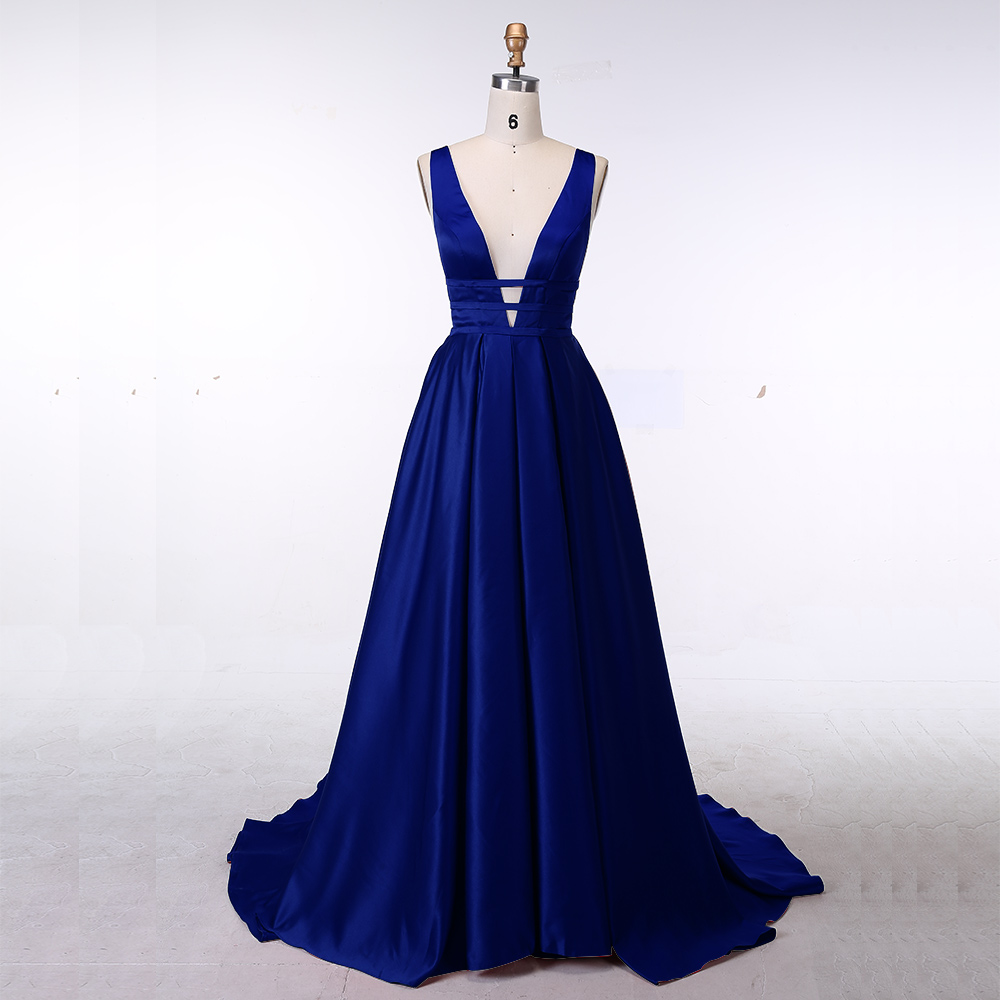 ROYAL BLUE Sexy Evening Dress Elegant Satin Gown