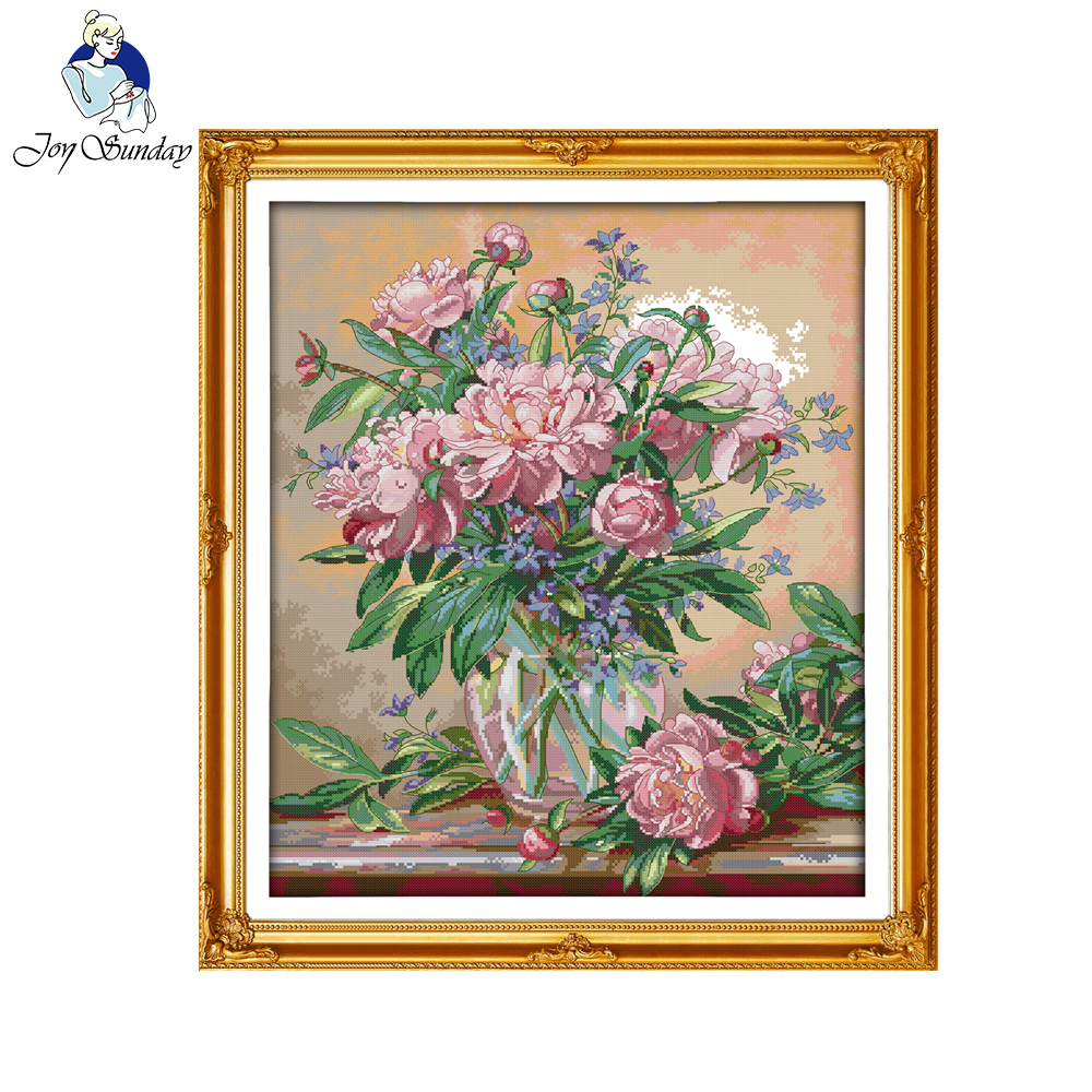 Joy sunday flower style Bluebells vase cheap counted cross stitch kits flowers for rooms embroidery materials