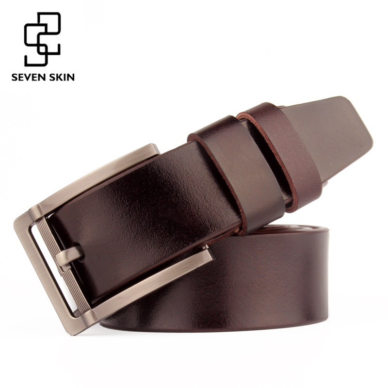 SEVEN SKIN 2017 men belt male genuine leather strap luxury pin buckle belts for men jeans design ceinture homme cinturon hombre