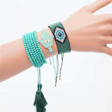 Go2boho Evil Eye Bracelet Perles MIYUKI Hamsa Hand Jewelry Pulseras Green Crystal For Women Handmade Insta Fashion 2019