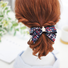 Korea Hair Accessories Fabric Plaid Print Flower Hairgrips Clips For Girls Crystal  Embroidered Bow Hairpins Barrette