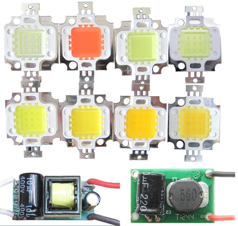 10 Вт 30mil Прохладный Холодный белый Теплый Нейтральный 3000 К 4500 К 10000 К полный спектр светодиодные лампы Чип диод свет + 10 Вт AC/DC драйвер