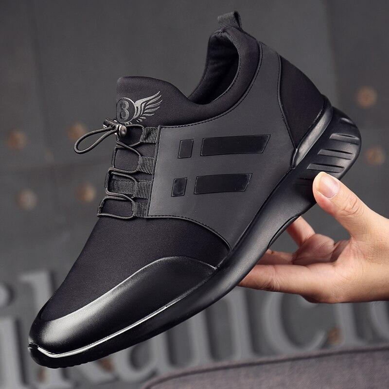 Image 2 - 2019 chaussures pour hommes qualité Lycra + vache cuir chaussures marque 6CM augmentant britannique chaussures nouveau printemps noir homme décontracté hauteur chaussures-in Chaussures décontractées homme from Chaussures on AliExpress