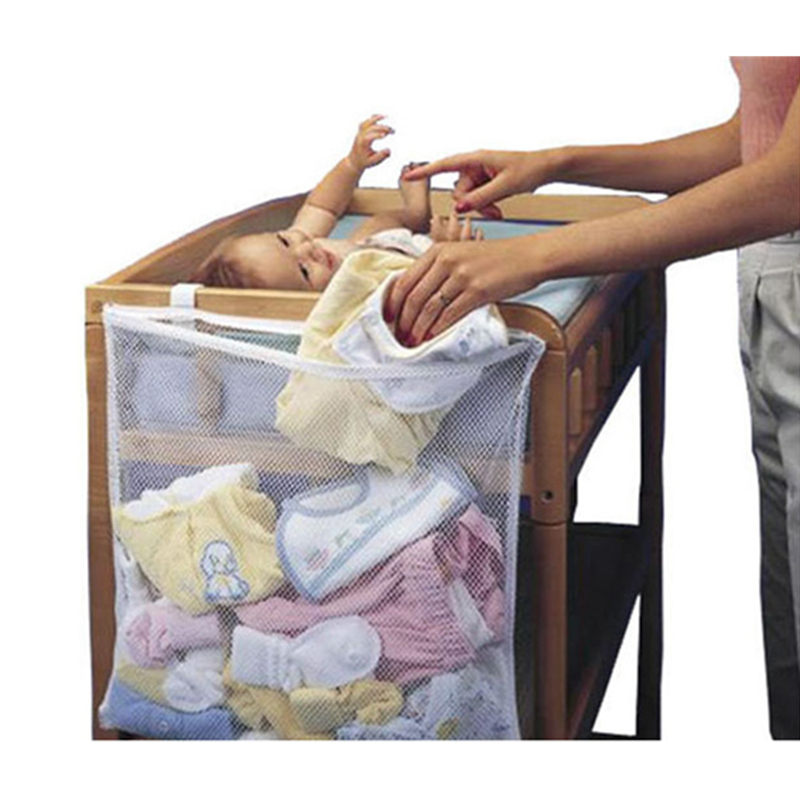 60*50cm Mesh <font><b>Baby</b></font> Bed Storage Bag <font><b>Baby</b></font> Cot Toys Organizer Bedside Pouch <font><b>Bedding</b></font> <font><b>Set</b></font> Nursery Hanging Crib Toy Diaper Pocket Large image