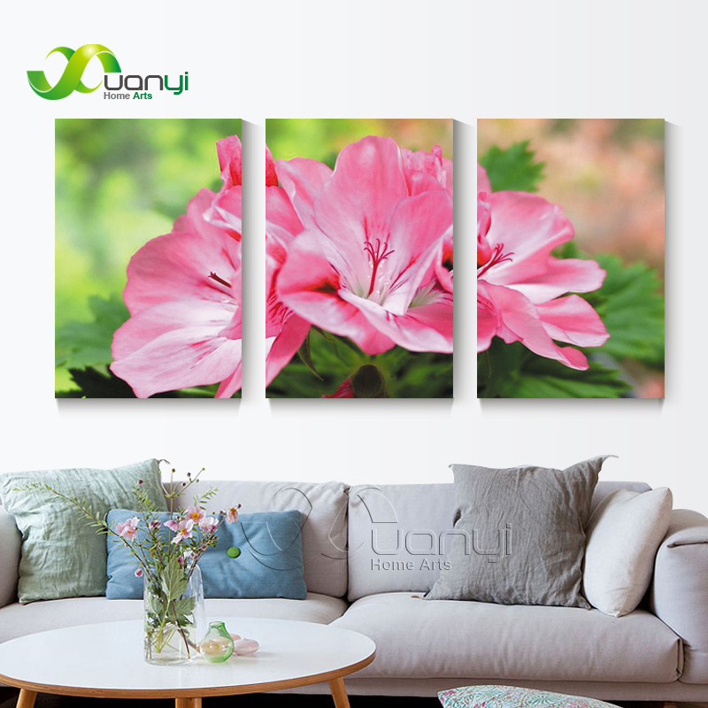 ᗚ3 Panel Red Flower Oil Canvas Painting Wall Art Picture Cuadros ...