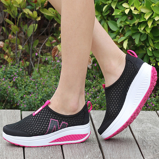 Women Casual Shoes Mesh Summer Breathable Swing Shoes Lady Zapatos Mujer Flat Platform Light Leisure Women Flats Loafers 35-42