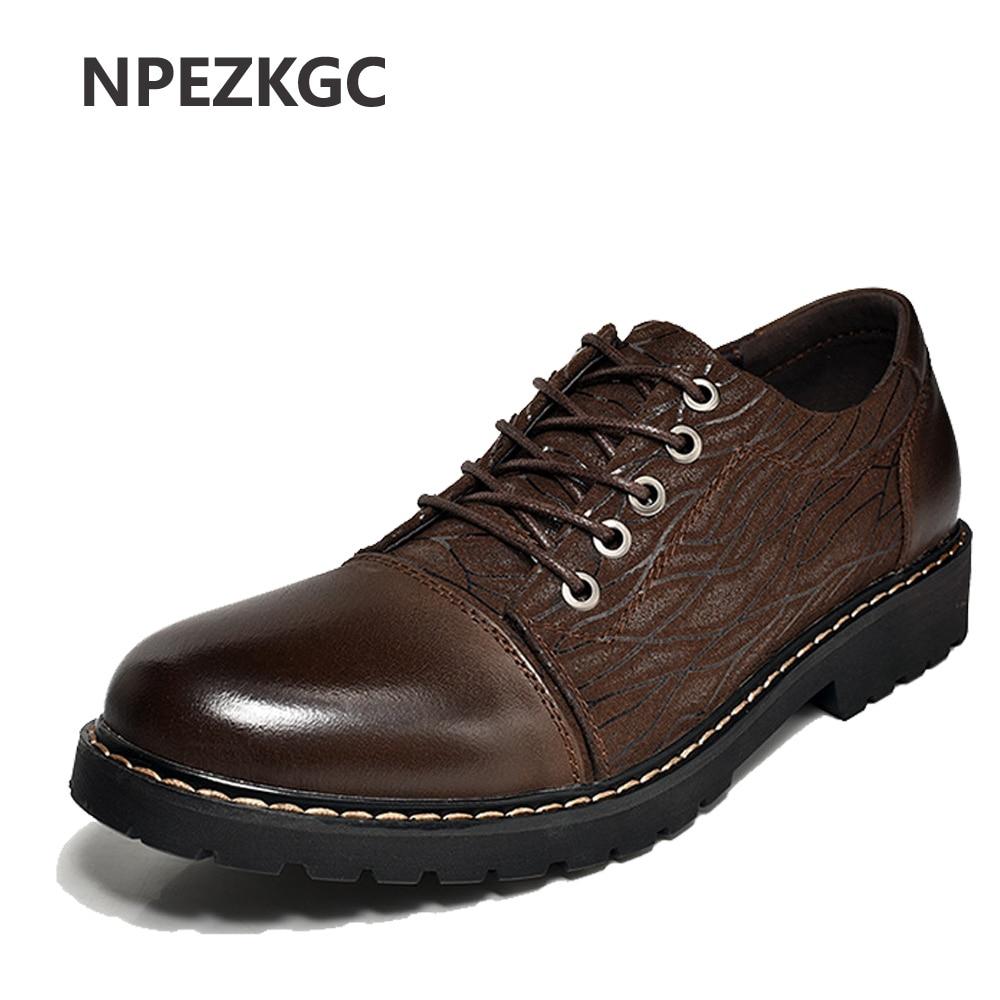 NPEZKGC Low Top Luxury Men Shoes Casual Oxford Genuine Leather Classic Male Elegant Office Business Dress