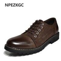 NPEZKGC Low Top Luxury Men Shoes Casual Oxford Genuine Leather Classic Male Elegant Office Business Dress Shoes Mens