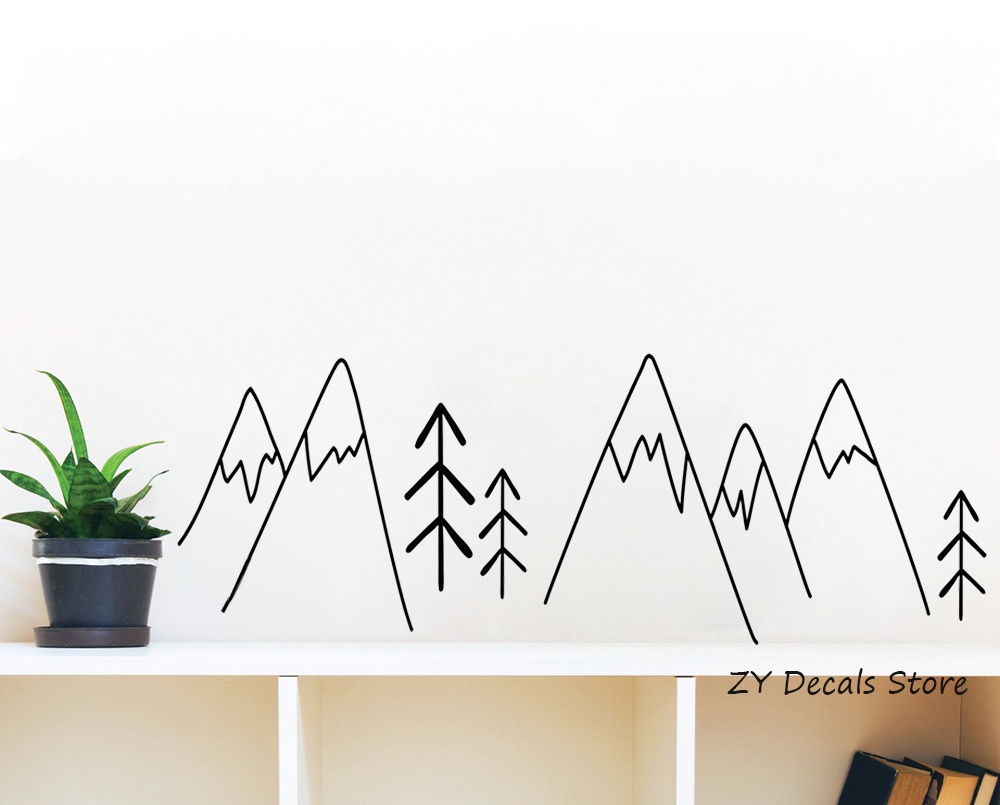 Simple forest pattern wall decals kids room nordic style wall decor decals boy girl nursery wall sticker home decoration s622