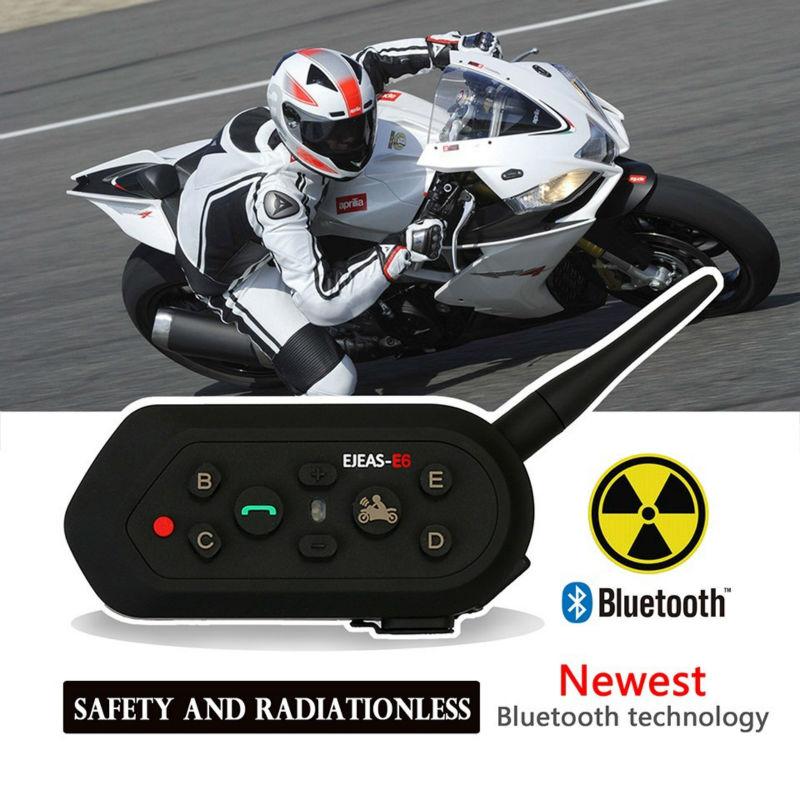 ФОТО 2 pcs New Ejeas E6 BT Motorcycle Headset 6 Riders 1200M Communication Helmet Interphone VOX Bluetooth Intercom