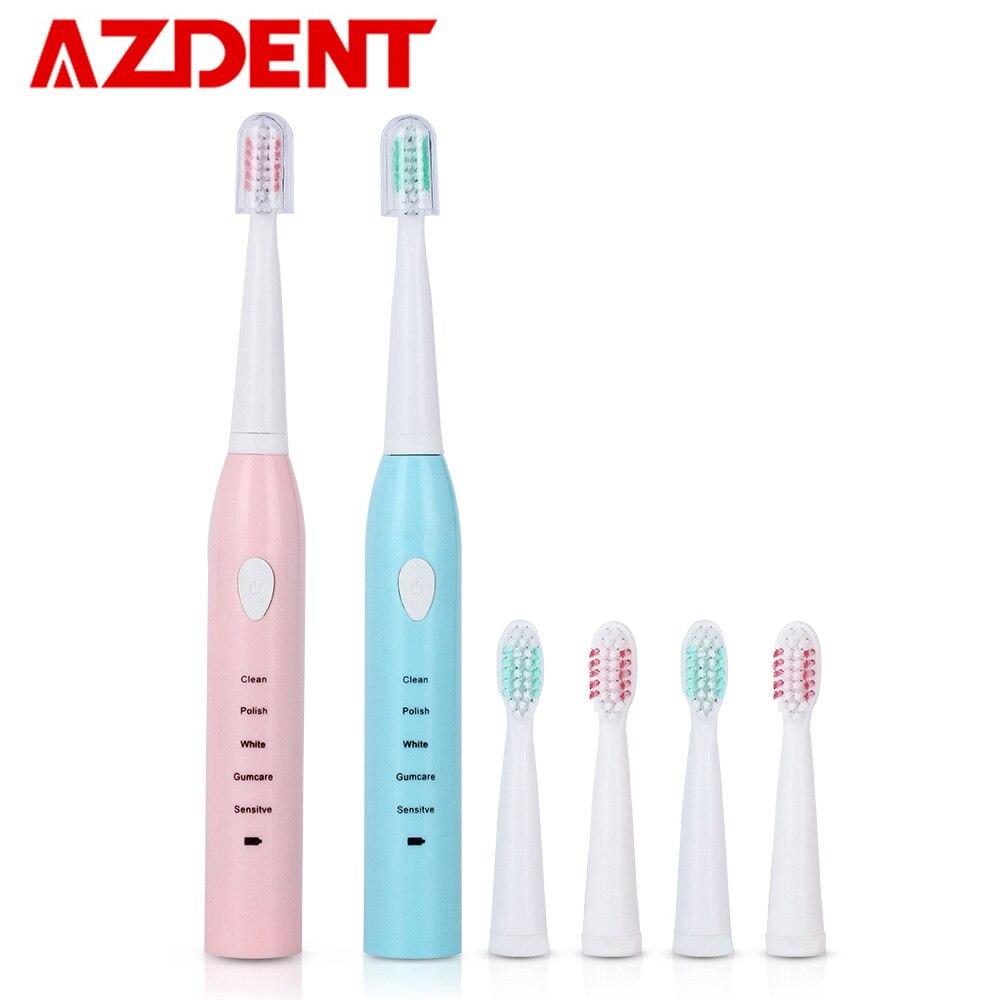 Actualizado 5 modos Sonic cepillo de dientes eléctrico con 4 cabezas  recargable USB carga cepillo de dientes 2 minutos temporizador vibración 31be122bf4bc
