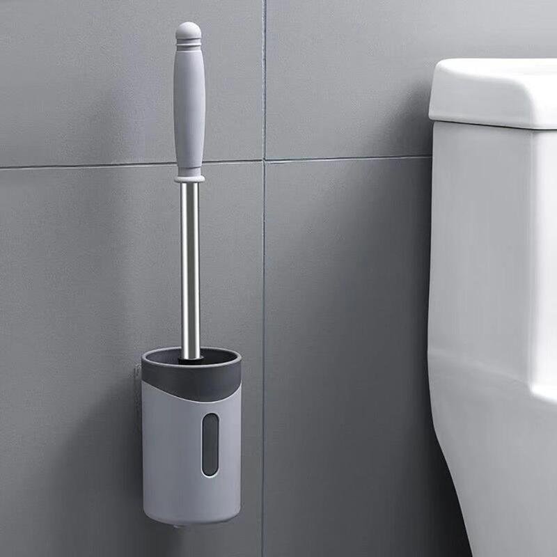 White Plastic Handle Bathroom Toilet WC Cleaning Brush Holder