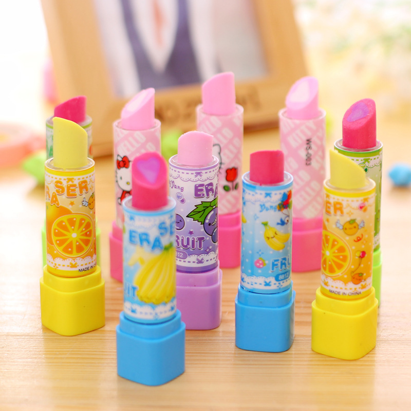 36pcs/lot Children Pencil Eraser Lipstick Rouge Style Cartoon Cute Fruit Creative Stationery Prize Gift