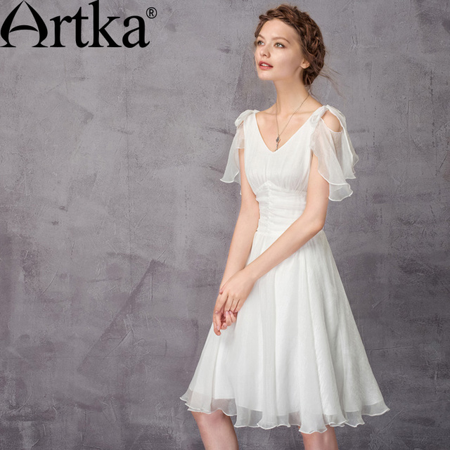cd3e54c250 ARTKA Elegant Women s Dresses 2018 Summer White Dress Female V-Neck Sexy  Dress Women Chiffon Dress Vestidos Mujer LA11570X