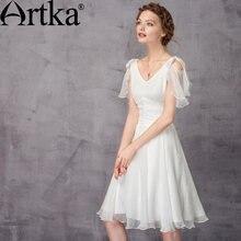 1a85f47965c ARTKA элегантные женские платья 2018 Летнее белое платье женское с  v-образным вырезом сексуальное платье женское шифоновое плать.