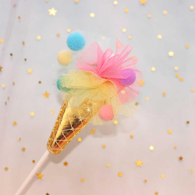 Glittering Mermaid Shells Ocean Ice Cream Theme Happy Birthday Party Supplies Beauty Cake Topper Decorations Kids Cupcake