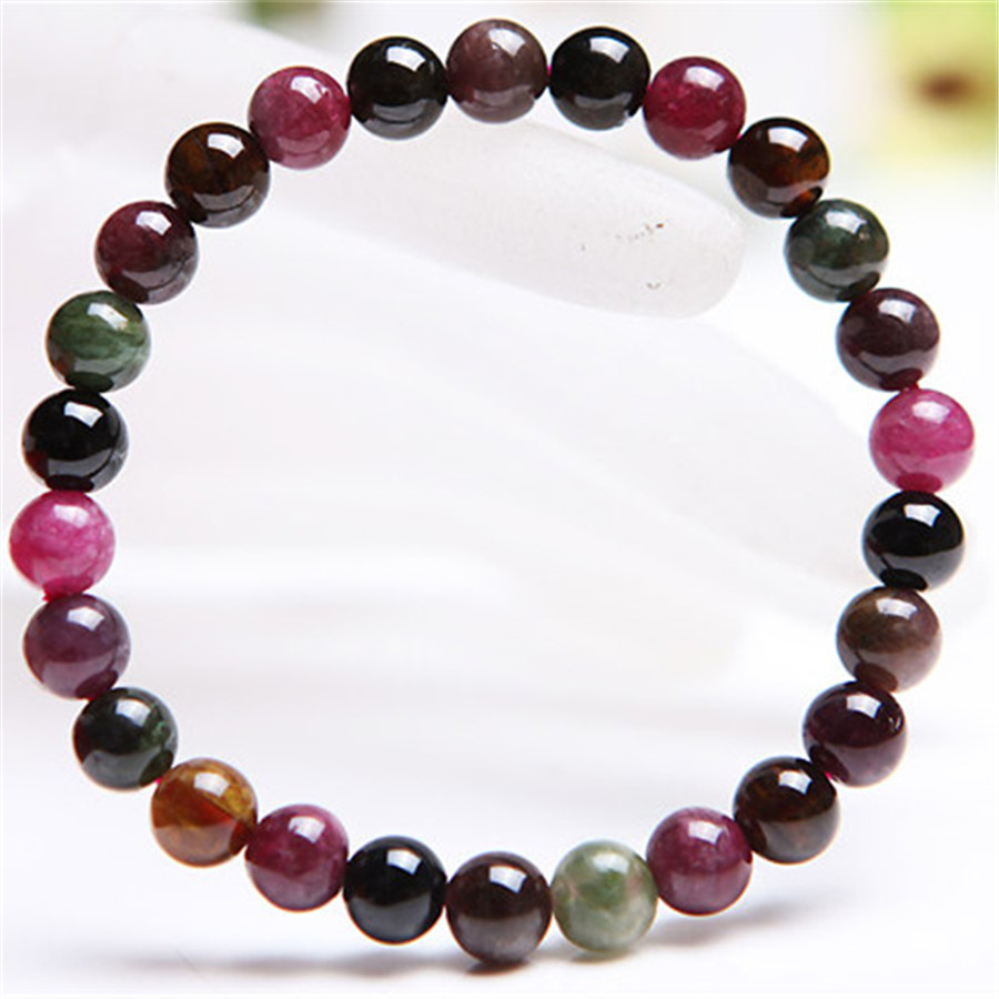 Free Shipping 7mm Genuine Mix Colors Tourmaline Crystal Quartz Natural Stone Round Bead Bracelet Women Charm Stretch Bracelet
