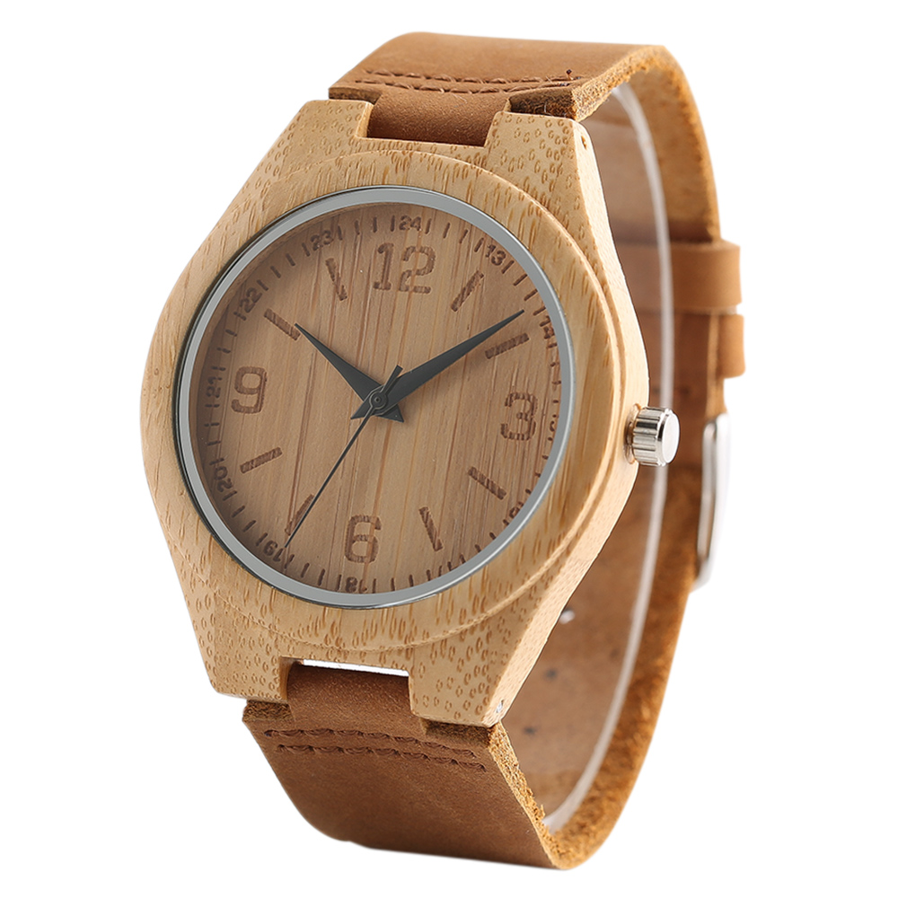 2018 New Handmade Bamboo Wooden Watch Men Women Genuine Leather Wrist Quartz Watches Natural Wood Clock Bangle eloj de madera classic style natural bamboo wood watches analog ladies womens quartz watch simple genuine leather relojes mujer marca de lujo