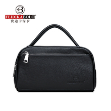 100% Cow Leather Men Wallets Double Zipper Mens Clutch Bag Fashion Cowhide Clutches Large Capacity Male Mobile Bags