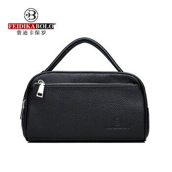 100% Cow Leather Men Wallets Double Zipper Men's Clutch Bag Fashion Cowhide Men Clutches Large Capacity Male Mobile Wallets