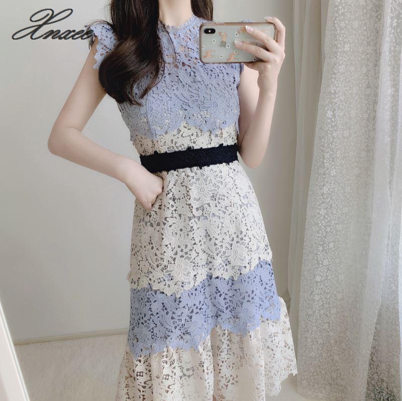 2019 봄과 여름 새로운 달콤한 openwork 레이스 컬러 매칭 민소매 드레스-에서드레스부터 여성 의류 의  그룹 1