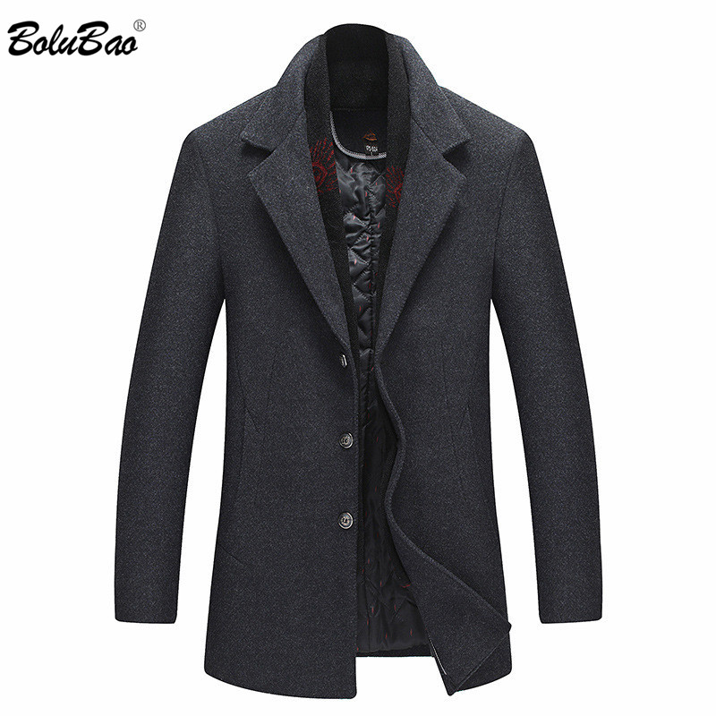 BOLUBAO Quality Brand Men Wool Blends Coats Winter New Male Solid Color Luxurious Wool Coat Men's Casual With Scarf Wool Coat