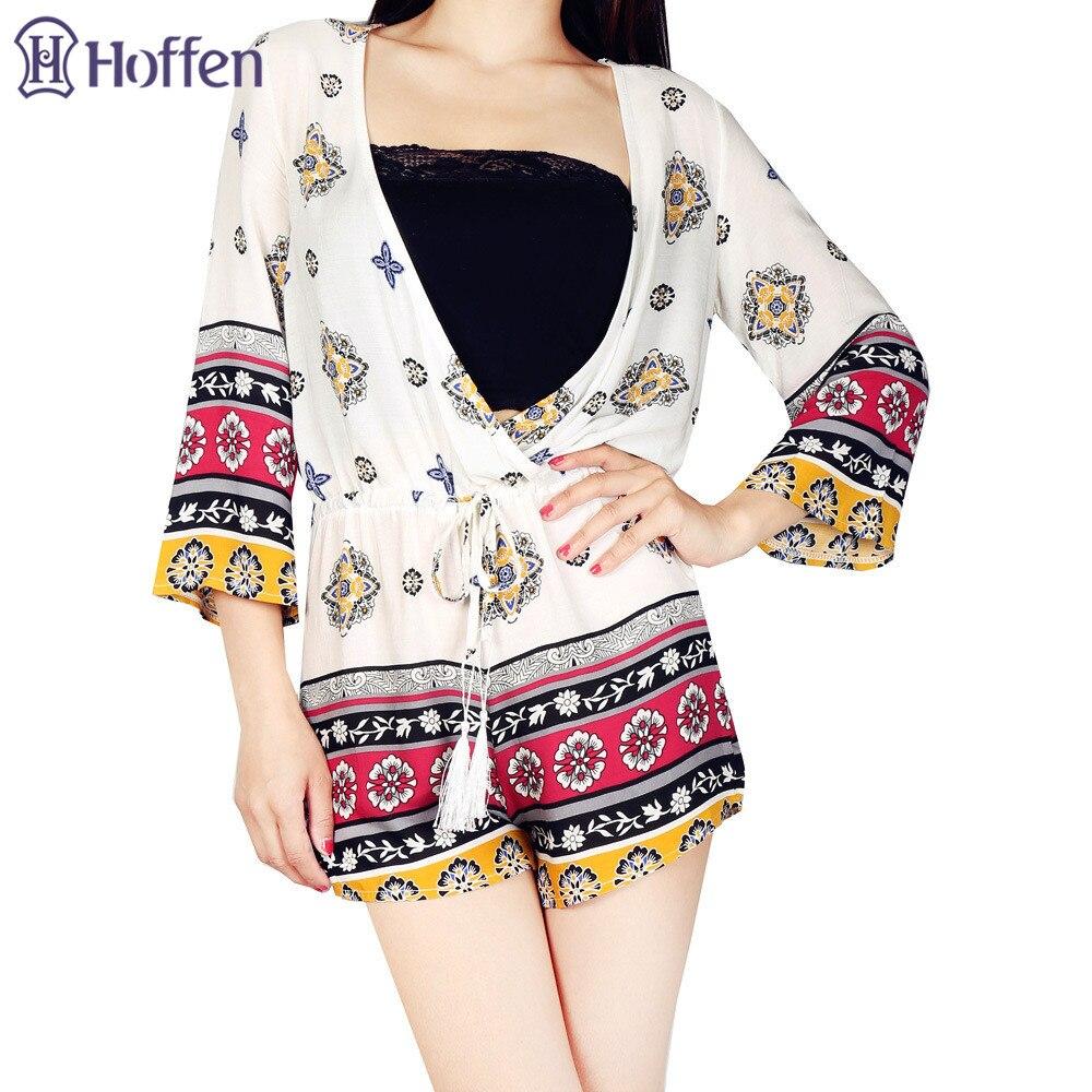 Hoffen Fashion Floral Print Playsuits Sexy Deep V-neck Boho Jumpsuits - Γυναικείος ρουχισμός