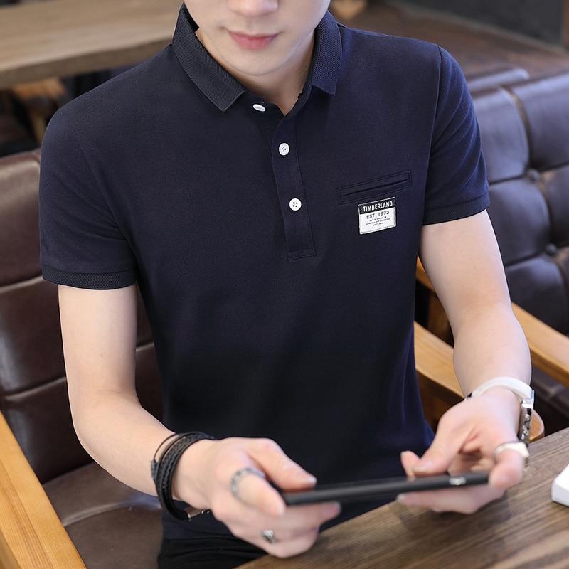 Mens Polo Shirt Summer Style Men Business Casual Solid Color Short Sleeve Polo Shirt Slim Cotton Polo Shirt Men Fake Pocket 17