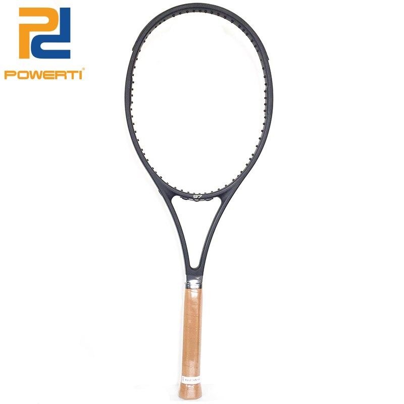 Powerti PS97 Black Tennis Racket Federer Men Foamed Handle Carbon Fiber Handle 4 1/4,4 3/8,4 1/2 with Bag цена