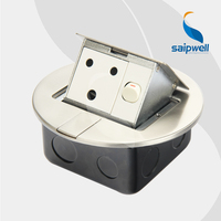 15A 220V Circular Design Stainless Steel South Africa / India Socket & Switch Waterproof Floor Socket (SPD 2Y/SC6 12)