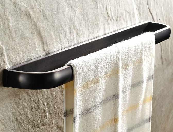 קיר רכוב שחור שמן שפשף עתיק פליז כיכר סגנון חד אמבטיה בר מגבת רכבת אבזר mba192