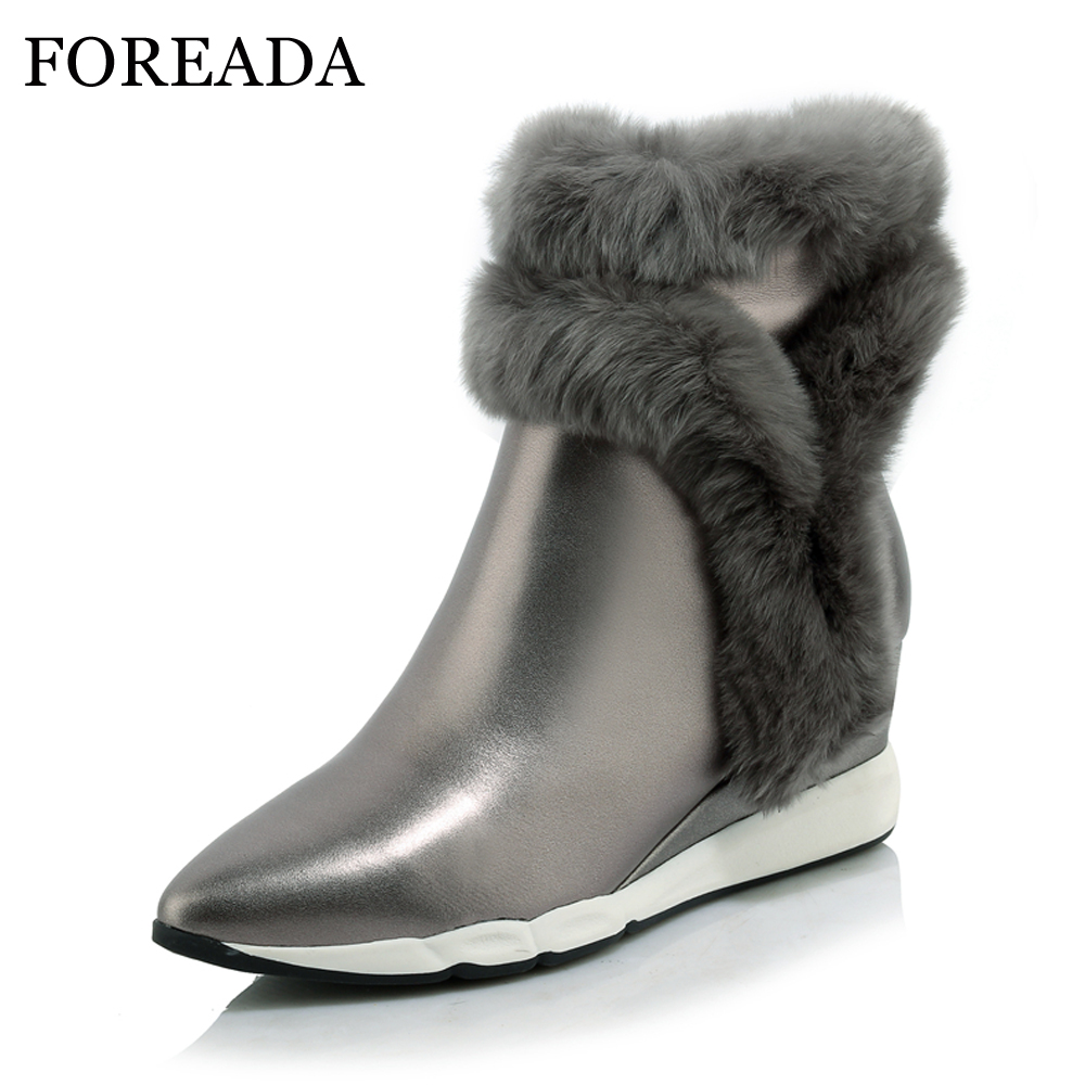 FOREADA Women Ankle Boots Genuine Leather Platform Wedges Boots Winter Rabbit Fur Warm Boots Pointed Toe Real Leather Shoes Gray