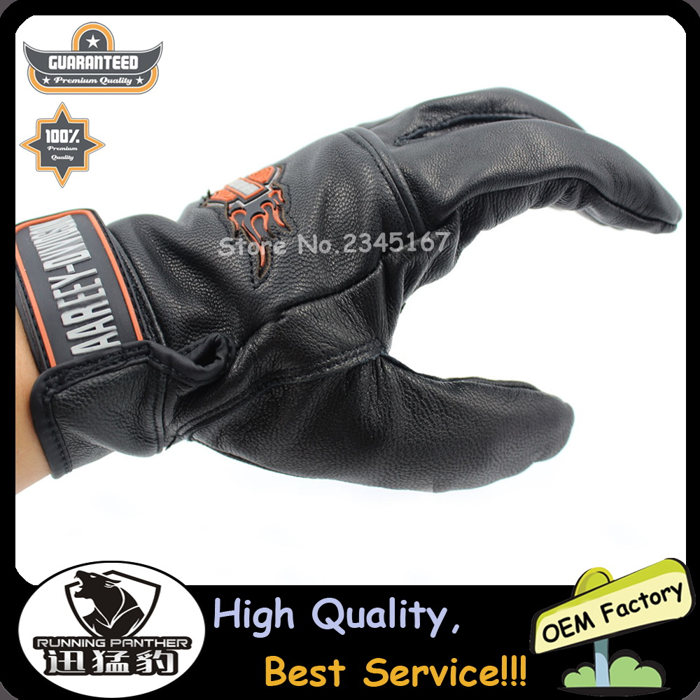 Motorcycle gloves review 2016 - 2016 Soft Leather Gloves Motorcycle Gloves Full Finger Fits For Harley Rider Motocross Racing Wearable Motorbike Off Road Gloves