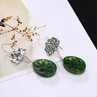 2018 Special Offer Promotion Brinco S925 Pure Natural Hetian Jade Jasper Mosaic Lotus Root Lady High end Earrings Wholesale