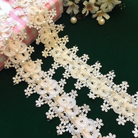 Pink Champagne Pearl Lace Flowers Wedding Dress Doll Adornment DIY Embossing Lace Trim Ribbon By Yard
