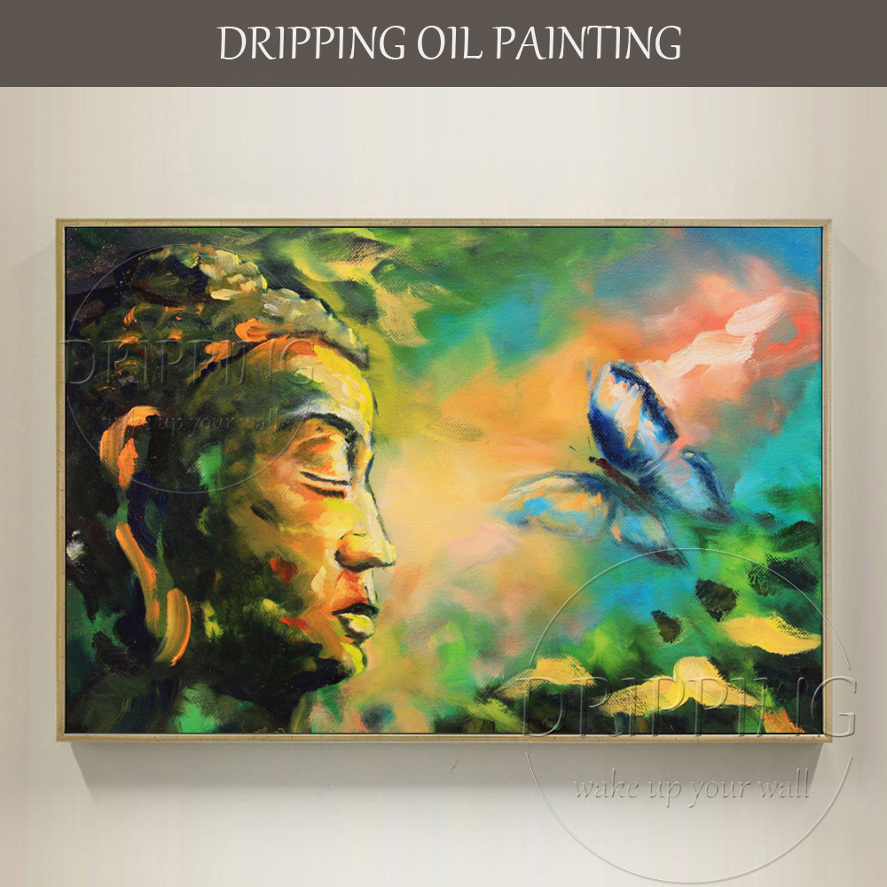Top Artist Hand-painted High Quality Buddha Figure Oil Painting on Canvas Impressionist Buddha Portrait Side Face Oil Painting