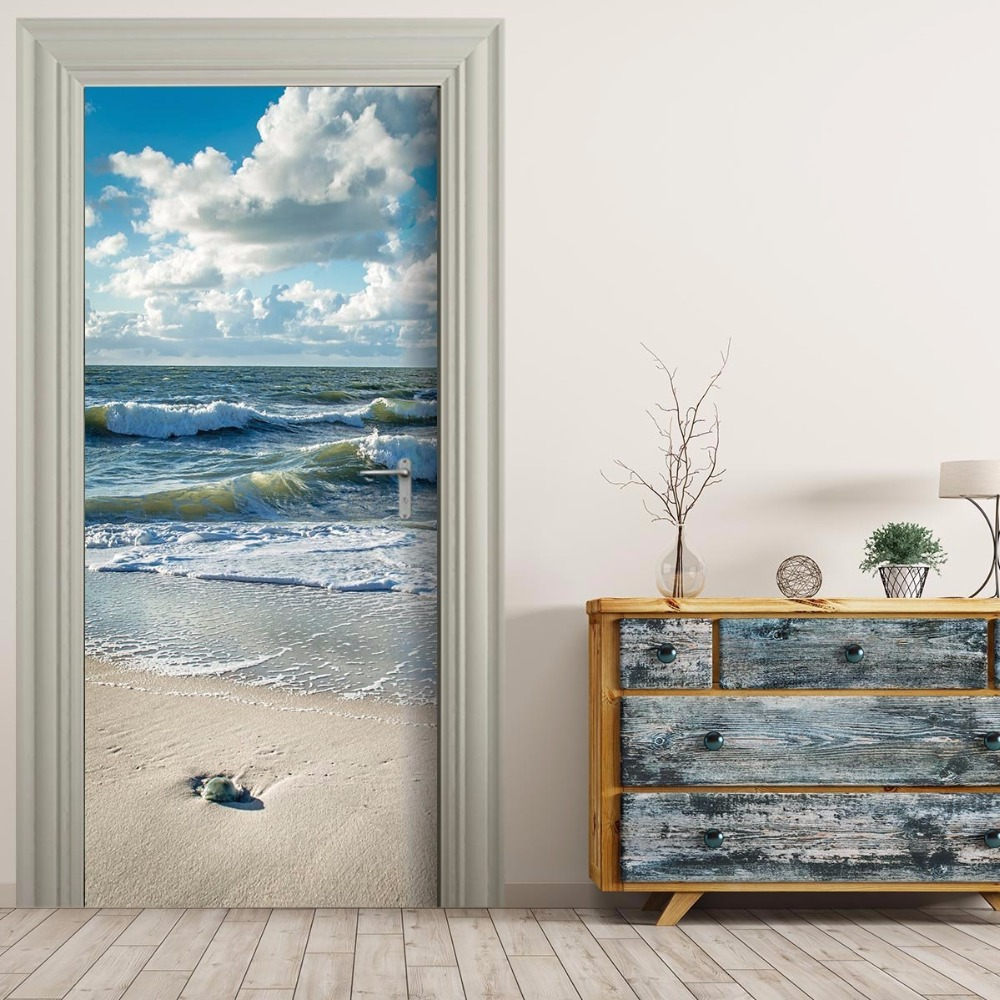 Free Shipping 3D Seaside Wave Door Wall Stickers DIY Mural