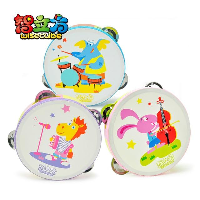 Tambourine child musical instrument wooden tambourine baby toy rattles, 3 0.136