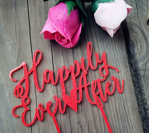 Happily Ever After Rot Gold Acryl Hochzeitstorte Topper Fur