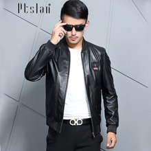 Really leather-based jacketPtslan 2016 Men's Genuine Leather Jacket Real  Cow Leather Coat