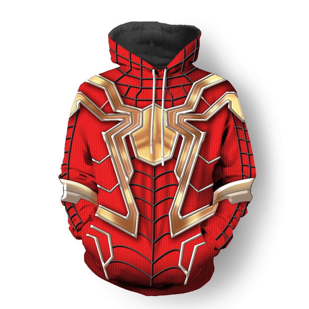2019 new 3D Printed Men Spiderman Hoodies Avengers Iron Superhero Veno Cosplay Spider Hooded Zipper Casual Tracksuit