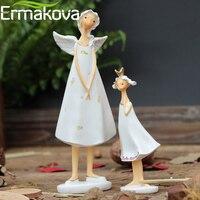 ERMAKOVA 2 pcs/ensemble Résine Mère et Fille Ange Statue Mère Enfant Fée Figurine Sculpture Maison Décor de Bureau Cadeau D'anniversaire