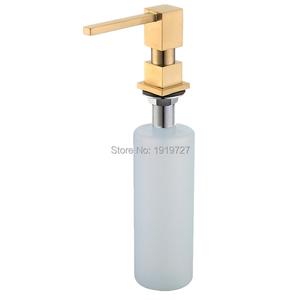 Image 2 - Newly Wholesale Promotion High Quality Square Style Pure Black/Brushed Nickel/Chrome/Gold Solid Brass Kitchen Soap Dispenser