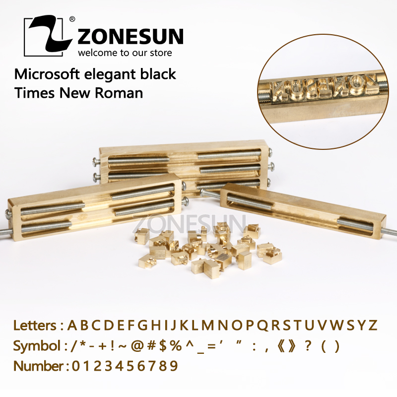ZONESUN Brass Letters CNC Engraving Mold Hot Foil Stamp Number Alphabet Ymbol Customized Font DIY Leather Stamp Mold Die Cut