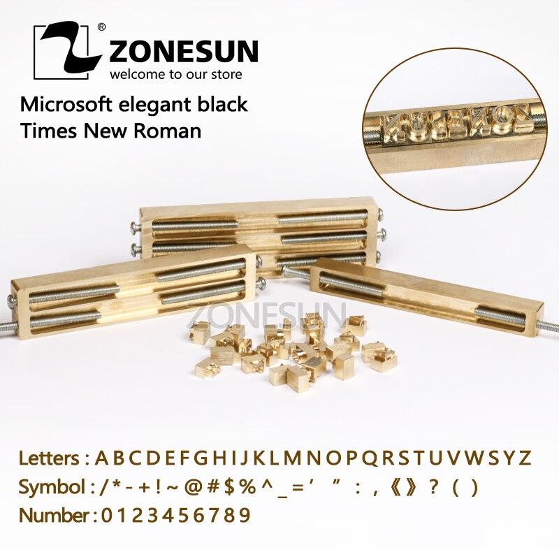 ZONESUN laiton lettres CNC gravure moule feuille chaude timbre numéro alphabet ymbol personnalisé police bricolage en cuir timbre moule découpé