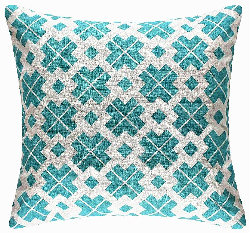 blue and green blue mint square cross geometry pillow cushion cover polyester pillowcase office home decorative