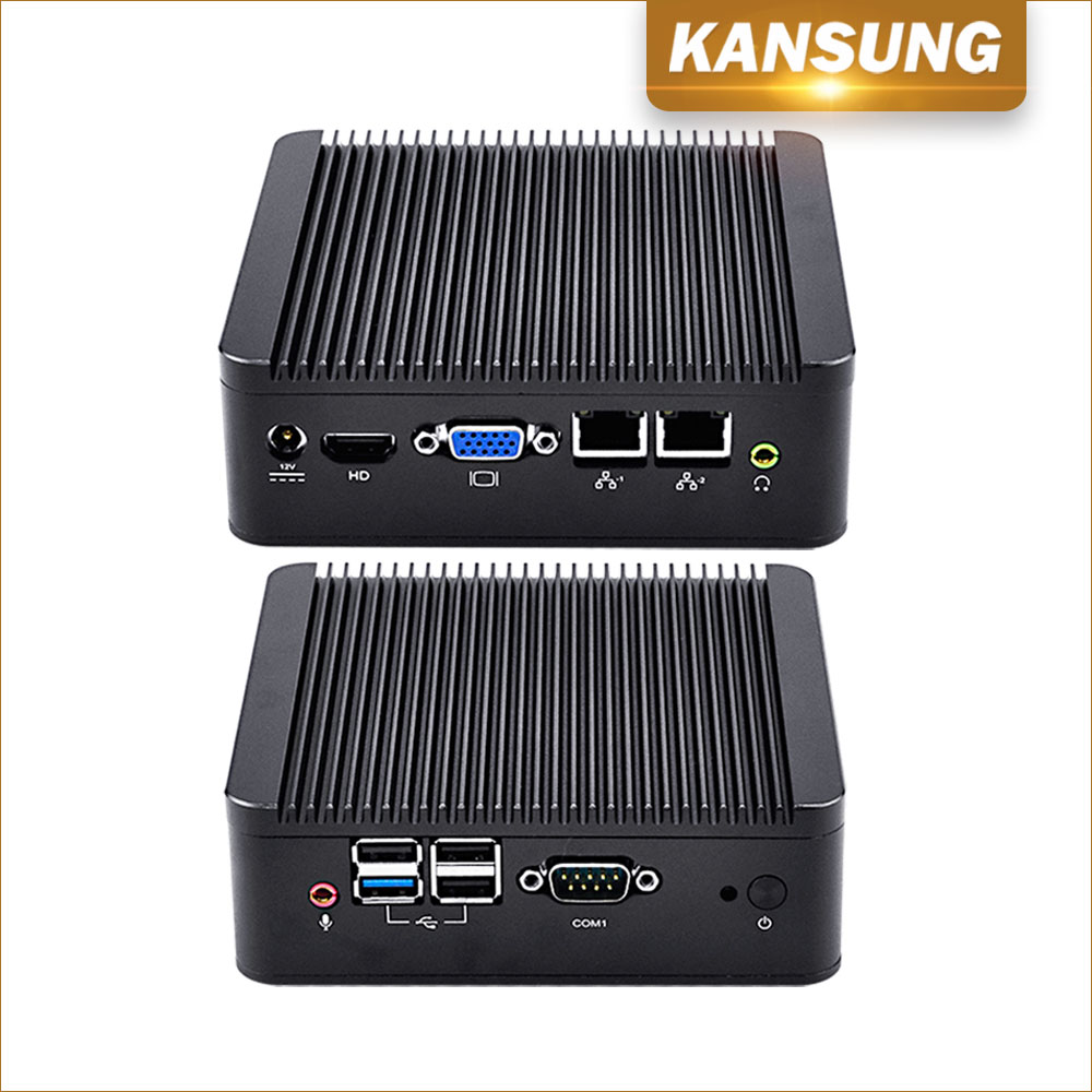 2 Lan Industrial Fanless PC Computer Desktop Baytrial Quad Core J1900 WiFi 4 USB HD VGA